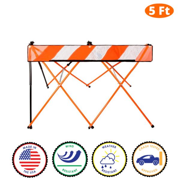 5 Foot - Orange - Safety Barricade - Flex Safe